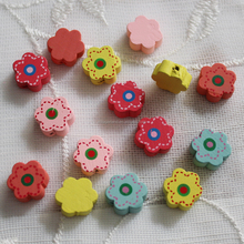 Baby's samll toys 12MM flower shape painted natural olive wood beads