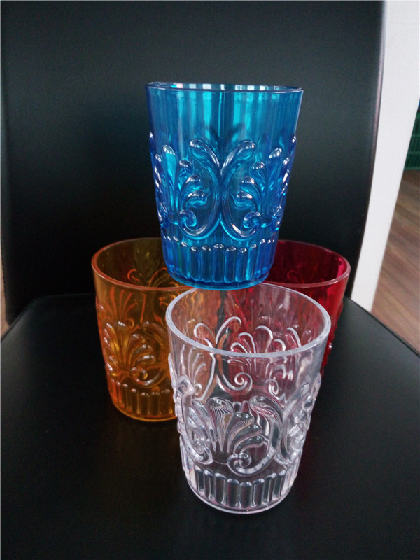 acrylic/ps flower engraved cup without handle,transparent colorful water cup