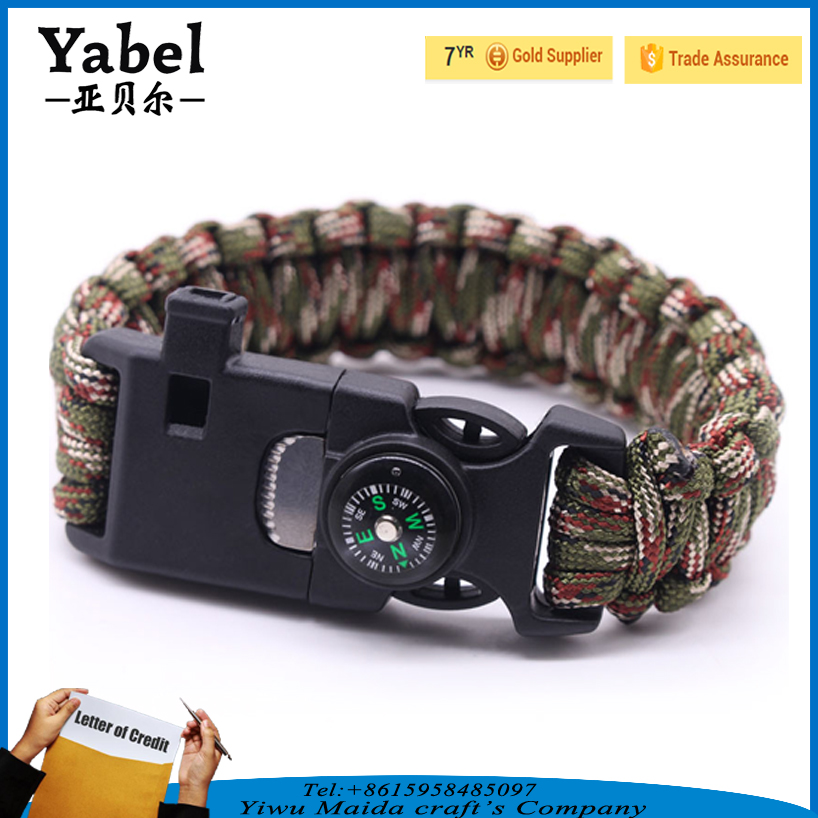 Outdoors Product Embedded Compass Fire Starter Emergency Whistle Paracord Survival Infinity Bracelet