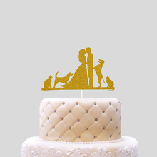 Wedding Birthday or Party Decoration Lovers with Pets Paper Cake Topper