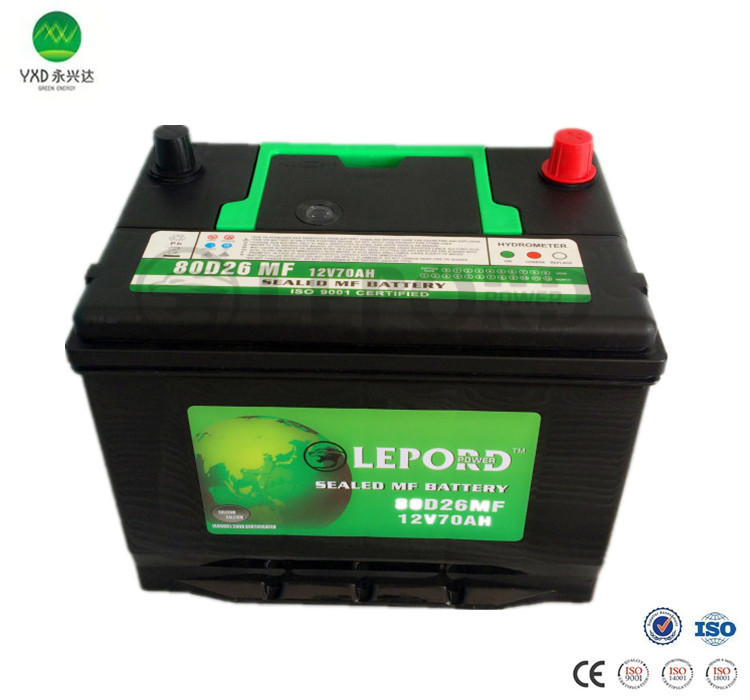 12V Voltage Car Battery MF lead acid battery type JIS 80D26L 70AH automobile battery