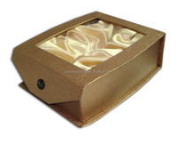 paper box with satin silk from china luxury jewelry box for cosmetic flip-top paper box with clear window