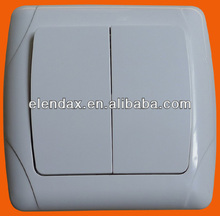 European style flush mounted two gang one way wall switch (F3002)