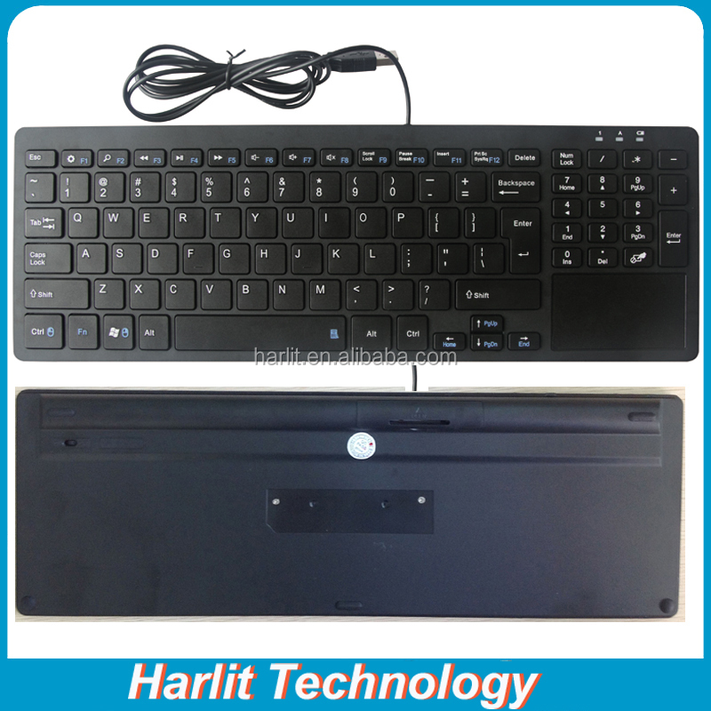 Standard Wire USB Computer Keyboard With Trackpad And Number Keys For Laptop Desktop Computer