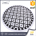 Wholesale extra large organic fabric australia picnic blanket 100% printed custom cotton round beach towels with tassels