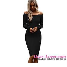 Dear Lover Wholesale Black Off Shoulder Long Sleeve Women Sweater Dress