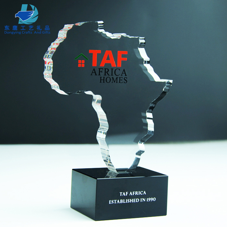 Dongying Custom Made Sounth Africa Map Crystal Cutout Trophy Award