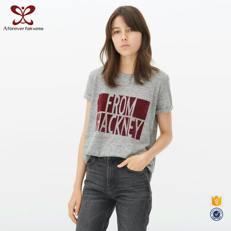 Wholesale Fashion Custom Women Screen Printed Tee Shirt Printing Custom Cotton T-shirt