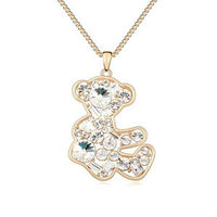 8954 japanese free shipping pure gold Little Bear pendant jewelry long nacklace