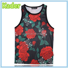 Polyester vest All over flower sublimation printing ladies tank top