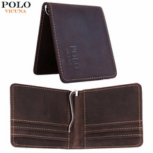 VICUNA POLO Vintage Simple Design Genuine Leather Men Money Clip Wallet Short Style Purse Men's Wallet