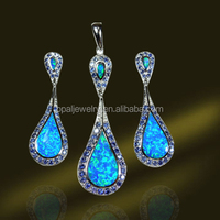 Charming Blue Fire Opal 925 Sterling Silver Jewelry Set Micro Paved CZ, Elegant Jewelry Set