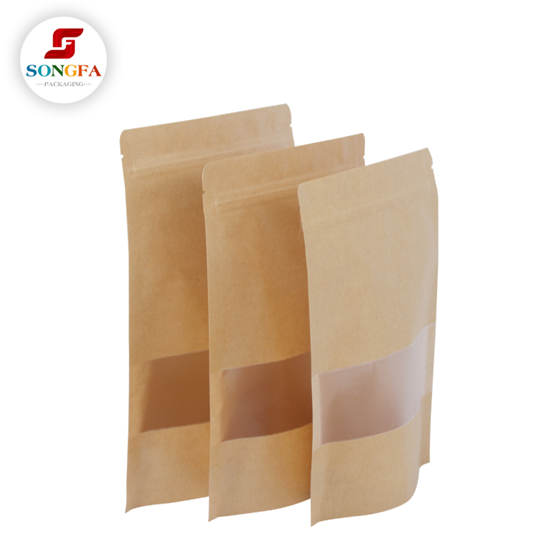 Digital printing accepted foil lined food grade paper bag for food packaging with window