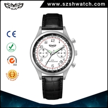 Famous brand watch mens business chronograph stainless steel japan movement leather band wrist watch
