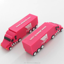 Customized logo service promotional giveaway custom pvc truck shape usb flash memory stick with optional capacity