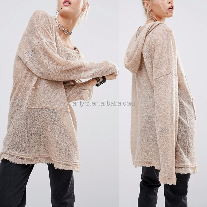 wholesale women clothing long sleeve knit loose hoodie and sweatshirts