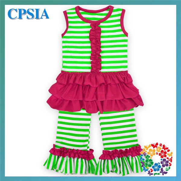 red green striped girls boutique chlothing sweet summer smocked children clothing wholesale