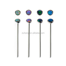 316L Surgical Steel 2mm Synthetic Opal Fishtail Nose Stud