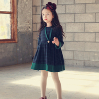 New Winter Thick Cotton Vintage Style Girls Kids Dresses With Grid For Infant Clothes GD81108-37