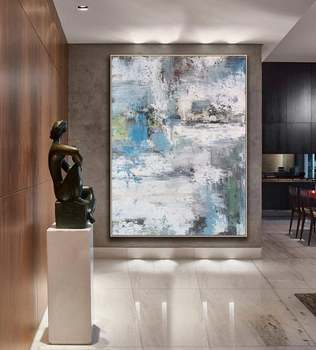 High Quality Vertical 100% Handmade Abstract Heavy Textured Acrylic Oil Painting