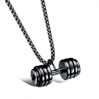 Marlary European Fashion Fitness Dumbbell Pendant Bodybuild Necklace Accessories Jewelry Charm