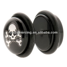 Skull & Cross Bones with o double ring fake ear expander plug earring uv body piercing jewelry