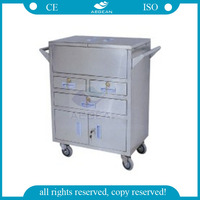 AG-SS028 easy moving stainless steel resuscitation cart medical
