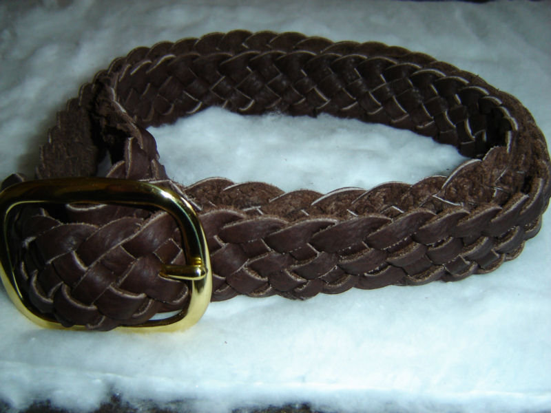 Bison leather braided belt with a solid brass center bar buckle