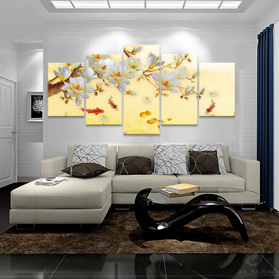5 Panel Wall Decoration Canvas Flower Painting Canvas Wall 3D Art ...