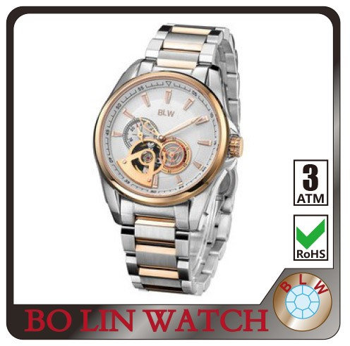Real diamond watch with rolexable style automatic watch movement and real gold base