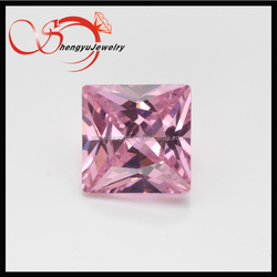 Top quality machine cut square shape pink semi-precious cubic zirconia