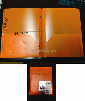 Custom folders with business card slot two pockets with/without 3 prongs plastic file folder