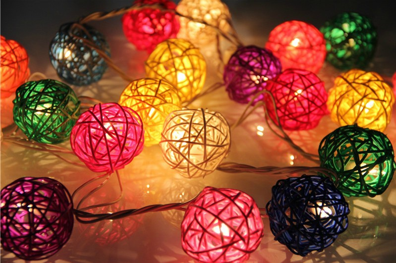 Christmas Decor Rattan Balls String Lights Led Garden Ball Light Impressive Rattan Decorative Balls