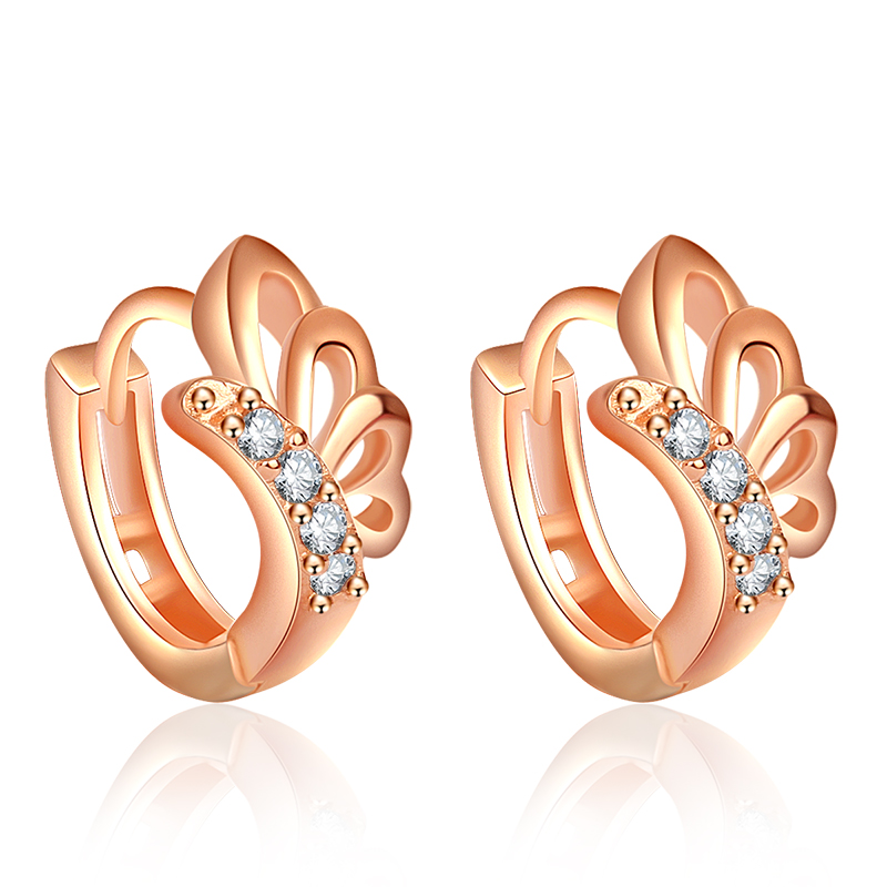 Factory direct sale <strong>fashion</strong> rose gold plated hangind earrings