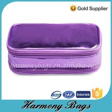 Low MOQ hot selling purple cosmetic bag with compartments