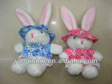 Lovely gift white rabbit plush/custom dressed stuffed large ear bunny