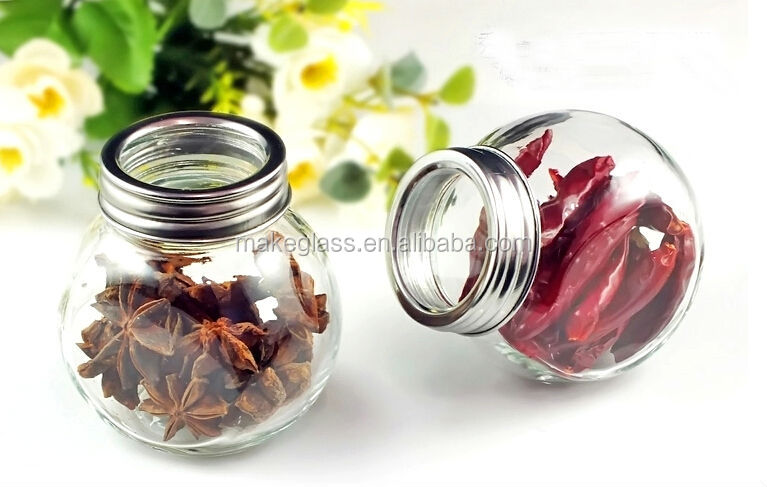 round glass spice jar with metal shaker sifter lid buy glass jar with screw top lidglass jars with decorative lidsglass spice jar with clamp lid product - Glass Spice Jars