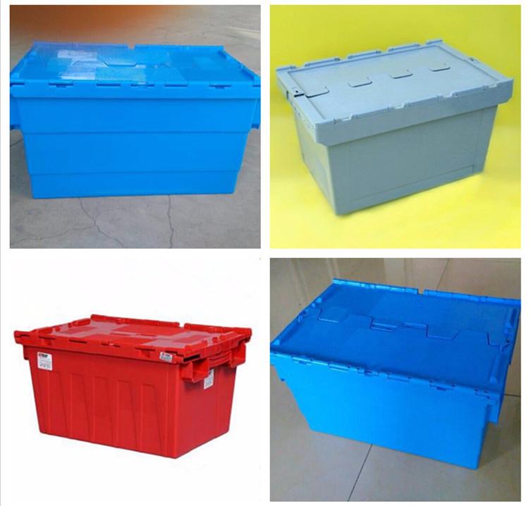 Plastic turnover bin with lids stackable plastic vegetable bins
