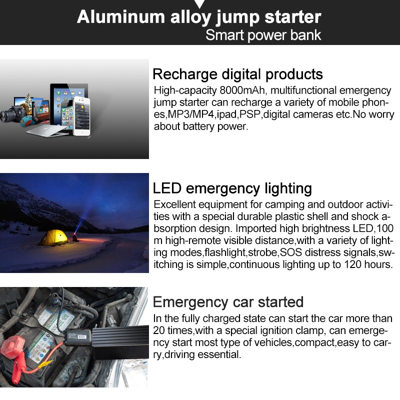 TPF the safest aluminum alloy emergency car jump starter power bank