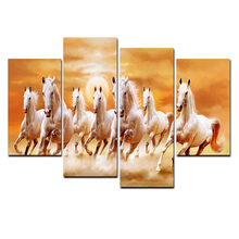 Hot Sale Animal Theme Custom 4 Pieces Canvas Print Painting Running Horse In Sunset Design Wall Hanging Art Picture