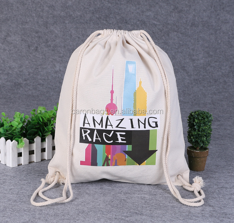 custom promotional high quality 8oz 100% full canvas cotton gift drawstring bag