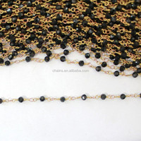 New Design Black Polyhedron Rhinestone Beaded Brass Decorative Imitation Jewelry Chains