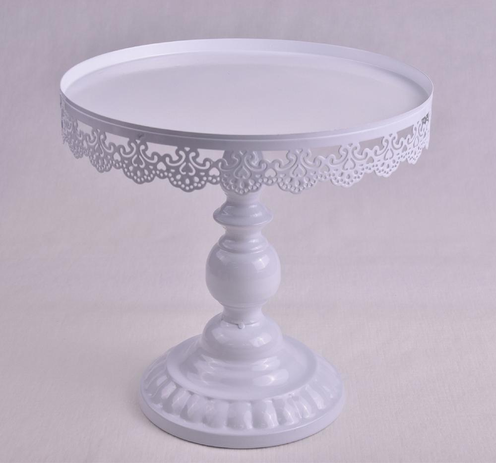 Vintage Flower Pendant White Metal Wedding Cake Stand Display with Dome