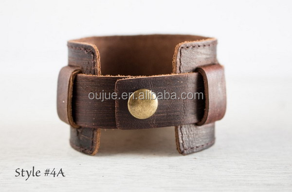 Customized Message Hand Stamped Snap Genuine Leather Cuff Bracelets