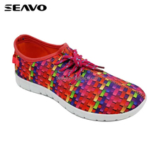 SEAVO breathable comfy elastic colorful upper ladies red walking sport shoes