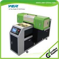 A2 size WER 4212UV white and color print at one pass flatbed printer print on glass
