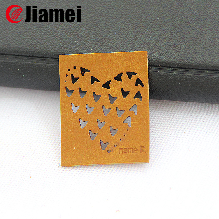 Jiamei Factory made label laser cut embossed pu leather patch