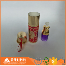 Custom printing golden natural cosmetic packaging round tube boxes for 30ml perfume and essential oil bottles