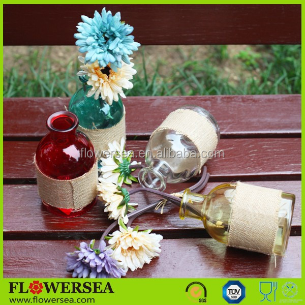 FLOWERSEA 2016 hot selling wholesale home centerpieces and christmas decor small crystal glass flower vase with flower