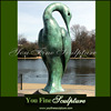 Decorative Park Large Patina Bronze Abstract Bird Sculpture